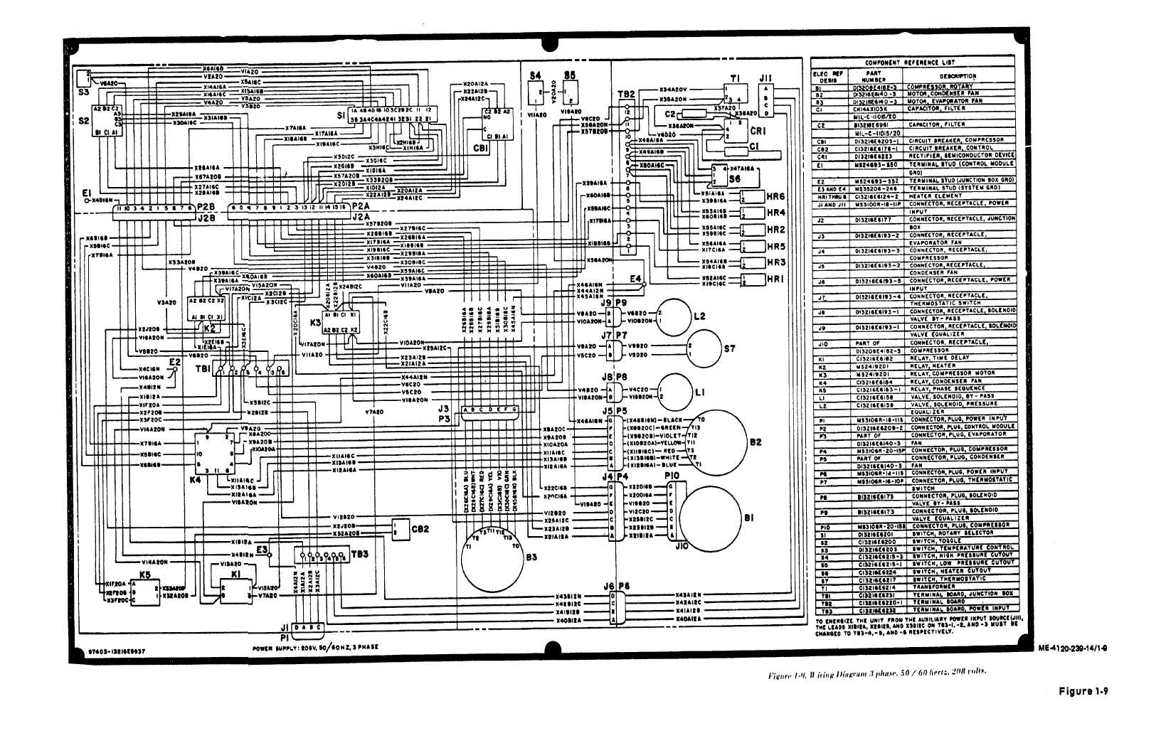 Figure 1 9 Wiring Diagram 3 Phase, 50 60 Hertz 208 Volts 208 Volt Single  Phase Wiring Diagram 208 Volt Wiring Diagram