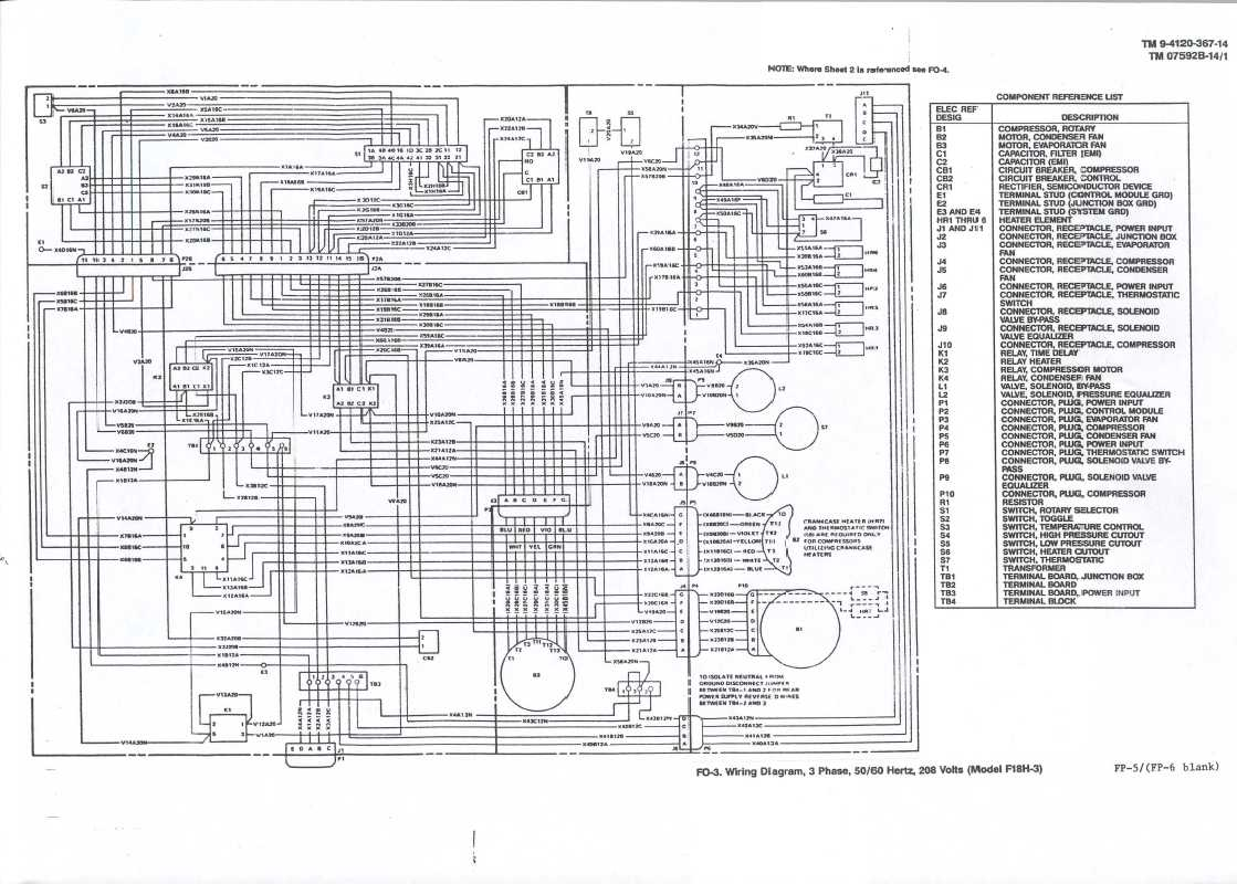 Wiring Diagram, 3 Phase, 50/60 Hertz, 208 Volts (Model F18H-3)