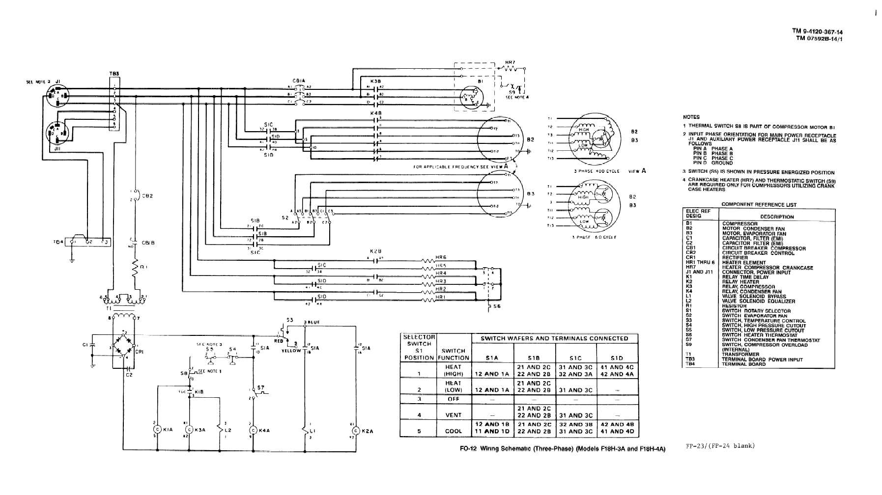 TM 9 4120 367 14_342_1 fo 11 wiring schematic (three phase) (model f18h 3a and f18h 4a) 3 phase wiring schematic at gsmportal.co